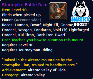 Stormpike Battle Ram Mount Boost